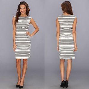 CALVIN KLEIN Striped Belted Sheath Dress 4